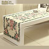 European-style Stylish Table Runner,Fabric Cloth Embroidered TV Cabinet,Garden Flag Coffee Table Table Runner-D 30x220cm(12x87inch)