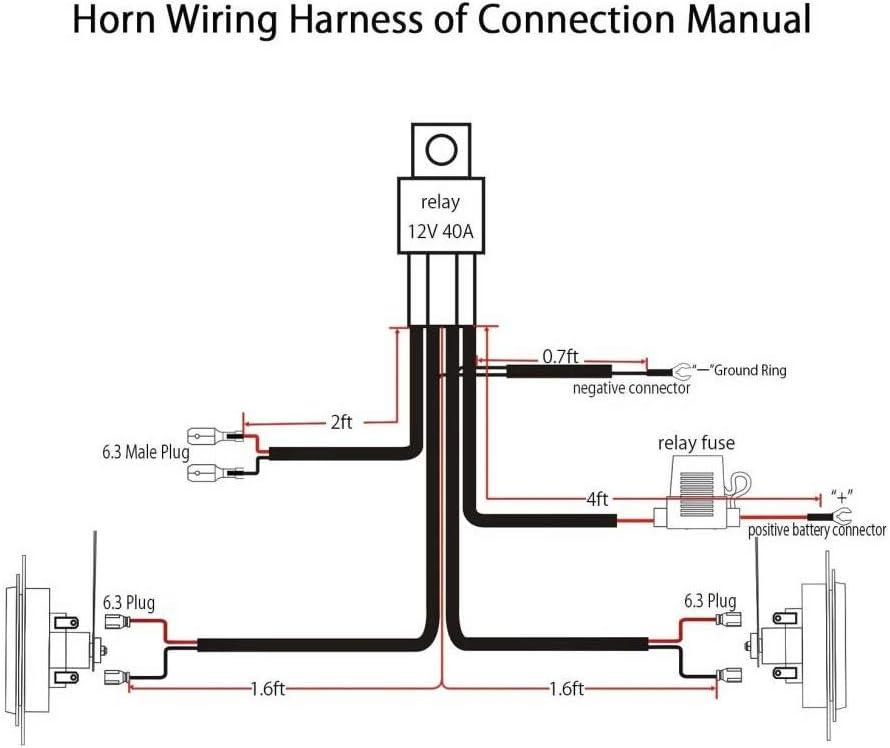Amazon.com: Somaer 12V Horn Wiring Harness Kit For Car Truck Grille Mount  Blast Tone Horns(Horn Not Inclueded): AutomotiveAmazon.com