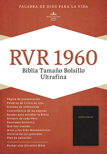RVR 1960 Biblia Ultrafina Tamaño Bolsillo, piel fabricada negro (Spanish Edition)
