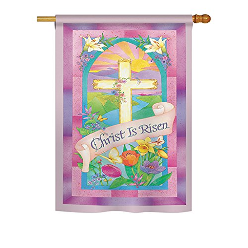 Breeze Decor H103043-P3 Christ is Risen Spring Easter Decorative Vertical House Flag, 28
