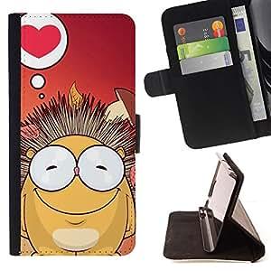 BullDog Case - FOR/Samsung Galaxy S4 IV I9500 / - / Cute Hedgehog /- Monedero de cuero de la PU Llevar cubierta de la caja con el ID Credit Card Slots Flip funda de cuer