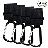 4 Pack Stroller Hook, Adjustable Strap Mommy Hanger for Baby Diaper Bags, Groceries, Clothing, Purse,Shopping Bags