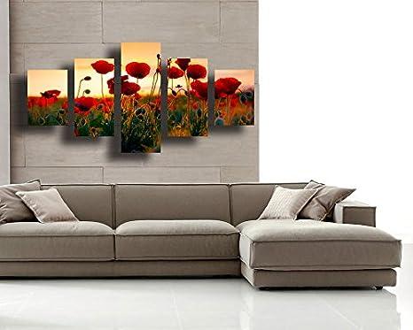 Quadro Moderno soggiorno PAPAVERI fiore fiori 100x70 cm 5 ...