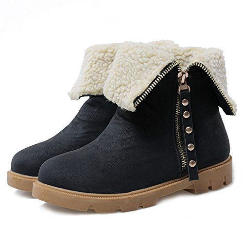 Warm Boots Zipper Black Lining Women's TAOFFEN FZq0OZ