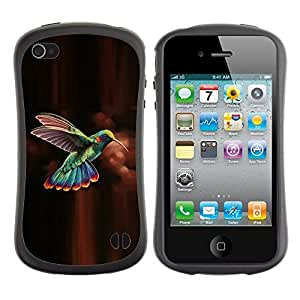 LASTONE PHONE CASE / Suave Silicona Caso Carcasa de Caucho Funda para Apple Iphone 4 / 4S / hummingbird brown chocolate green