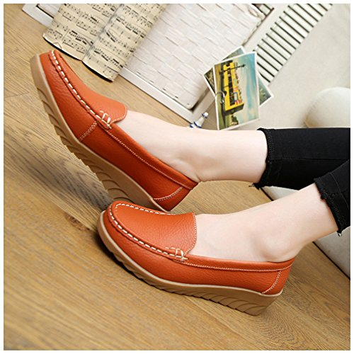 De Pour Confortables Femmes Vachette Newzcers Chaussures Orange Mocassin En Cuir 1SYSIp7