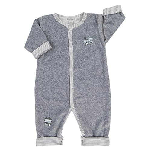- Kissy Kissy Baby Boys Freight Train Velour Rev Playsuit - Grey-6-9mos