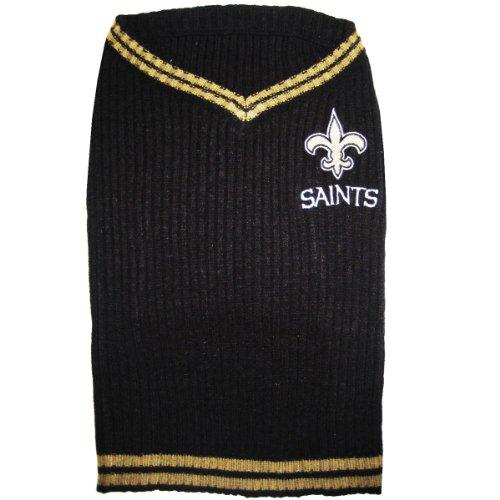Pets First New Orleans Saints V-Neck Dog Sweater, Medium, My Pet Supplies