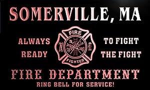 qy57559-r FIRE DEPT SOMERVILLE, MA MASSACHUSETTS Firefighter Neon Sign