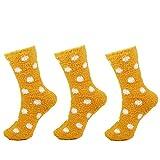 Super Soft Warm Microfiber Cozy Fuzzy Polka Dot Socks - 3 Pairs - 14 Autumn Yellow