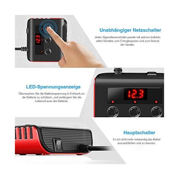 51lvtUTjfTL Auto Ladegerät Adapter, SONRU 3 Fach KFZ Zigarettenanzünder Verteiler mit 4 USB Ports, 120W 12V/24V DC Mehrfach…