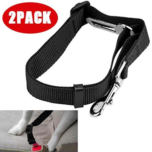 Tpingfe Vehicle Car Seat Belt Seatbelt Lead Clip Pet Cat Dog Safety, Black, 2PCS
