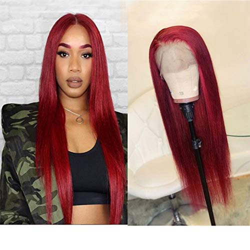 Wicca Hair Red Color Natural Looking Lace Front Wigs for Fashion Women Long Straight 130% Density Brazilian Remy Human Hair Glueless Pre Plucked Full Lace Wig with Baby Hair (20 Inch, Lace Front Wig)