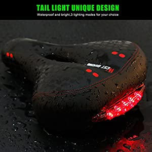 Black Gel Bike Seat, West Biking Bicycle Saddles Cushion Dual Spring Designed Memory Foam Padded Leather Life Waterproof Taillight ,Comfortable, Breathable, Safety Fit Most Men Women Bike