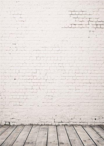 Laeacco 3x5FT Vinyl Backdrop Grunge Photography Background White Brick Wall Grey Whitish Wood Floor Theme Scene Children Kids Photo Backdrop 1m Widex1.5m high Photo Studio Props