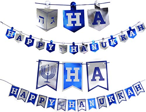 Happy Hanukkah Banner Chanukah Decorations, 2 Hannukah Banners - 5 Feet In Length]()