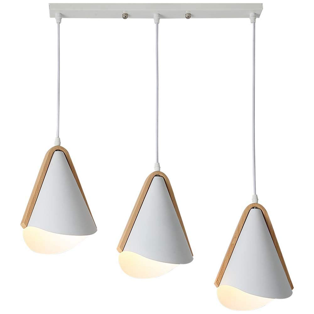KJDFN Personality Creative Wrought Iron Solid Wood Cone Three-Head Restaurant Study Bar Chandelier Simple and Durable