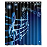 "Fantastic Music Culture Cool Music Notes Shower Curtain 60""x72"" Inches 100% Waterproof Polyester Fabric Bath Curtain,Shower Rings Included"
