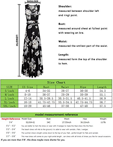Comila Floral Dresses for Women Casual Beach Holiday, Sexy Warp V Neck High Waist with Bow Fashion Vintage Floral Printed Sleeveless Casual Tank Dress with Pockets Black M(US8-10) by Comila (Image #6)