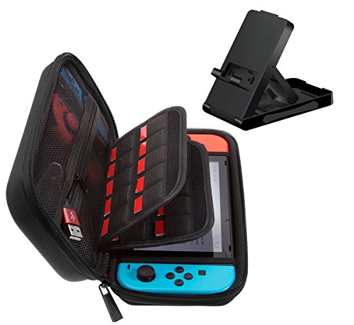 Nintendo Switch Carrying Case and Stand 2 in 1, Hard Carrying Protective Shell Pouch with 20 Game Cartridges, Compact Adjustable Switch Playstand, Foldable Bracket Holder Dock by MAYBEST (Black)
