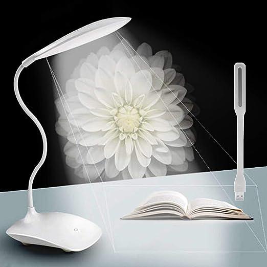 Lampada da Scrivania + Portatile Mini LED USB Light,Lampada Ricaricabili con Braccio Flessibile Del Collo (Eye Care 3 Livello LuminositàDimmable