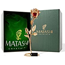 "Mothers Day Gift - Double Rose Crystal Studded ""Loving Flower Ornament"" Dipped in 24K Gold, Within Luxury Gift Box, by Matashi (Red) - Great Gift Idea for Mom from Daughter, Son"