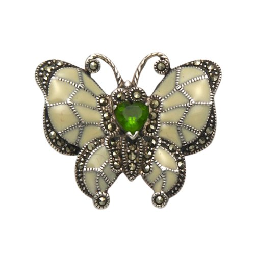 Sterling Silver Butterfly Pin - Wild Things Sterling Silver Marcasite Butterfly Pin w/Cream Enamel & Faceted Green Crystal