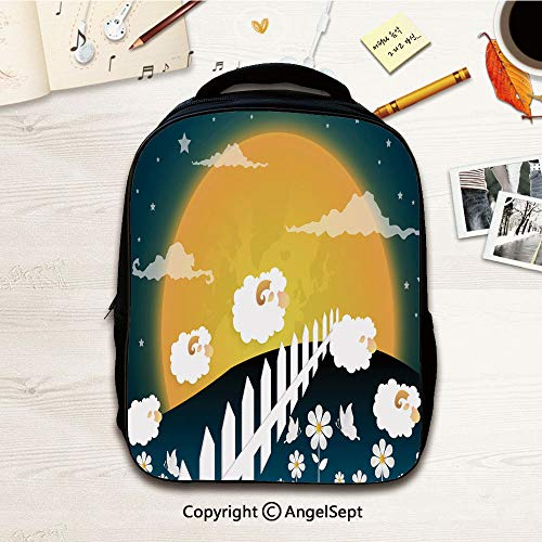 - Toddler Backpack for Boys and Girls,Counting sheep Cartoon character happy jumping sheep Sweet dreams paper art,12.2