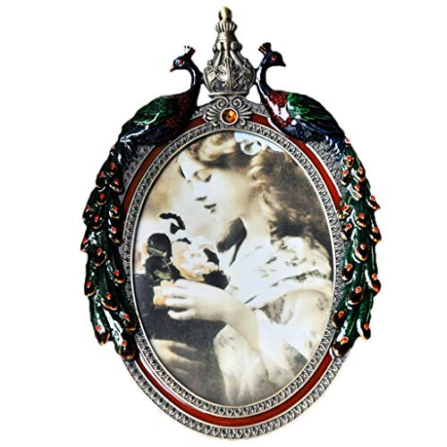 Peacock Oval Vase - YWAWJ Photo Frame Peacock Vintage Picture Frame 7 Inch Oval Tabletop and Wall Hanging Photo Frame with Glass Front for Home Decoration
