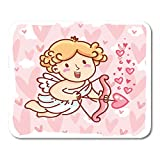 """Nakamela Mouse Pads Cute Cupid Baby Angel Character with Wings Bow and Arrow on Hearts Pink Romantic Love in Cartoon Doodle Mouse mats 9.5"""" x 7.9"""" Mouse pad Suitable for Notebook Desktop Computers"""