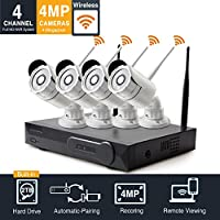 4-Megapixel (2680 x 1520p) 4CH Network Video Security System (NVR Kit) - Four 4MP WiFi Wireless Surveillance IP Network Security Cameras with 2TB HDD