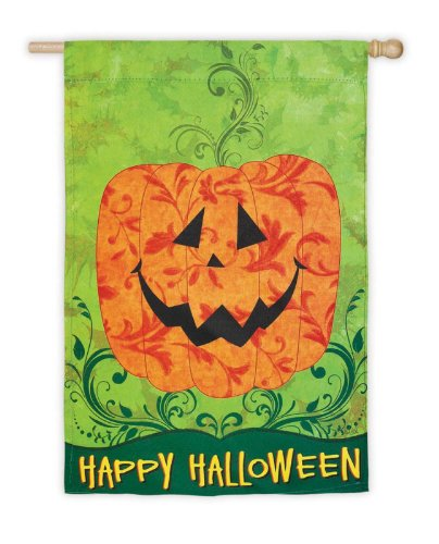 Evergreen Happy Halloween Whimsy Jack-O-Lantern Decorative Garden Flag 18