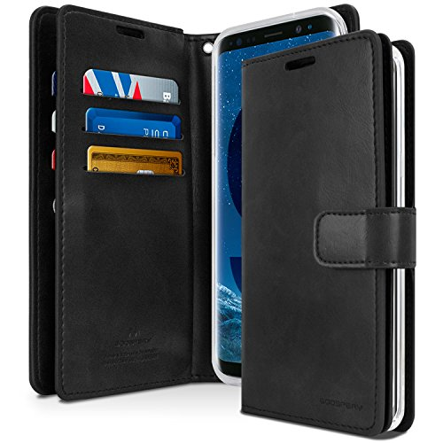 GOOSPERY Galaxy S9 Case for Samsung Galaxy S9, [Extra Card & Cash Slots] Mansoor Diary [Double Sided Wallet Case] PU Leather Cover [Shockproof] TPU Casing [Drop Protection]