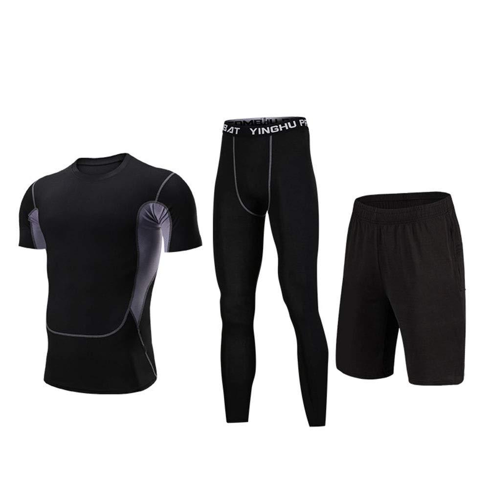 Wuxingqing Gym Wear Fitness Bekleidung Set 3 PC Männer Active Running Workout Kleidung Set mit Compression Enge Hosen, Compression Kurzarm T-Shirt, Shorts (Color : Black, Size : XXXL)
