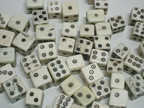 100 pcs Natural Hand Carved Bone Dice by Blasters & Beyond