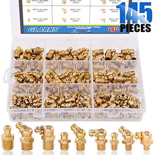 Glarks 145-Pieces Metric M6 M8 M10 Brass Zerk Grease Nipple Fittings Assortment Kit - Straight, 90 Degree, 45 Degree Angled Zerks