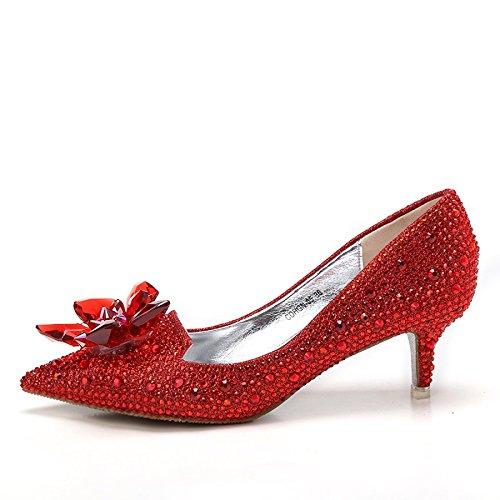 Rhinestone Red MUYII Altos Las Talones 33 5 5CM Mujeres De De Boda Cristal De Zapatos Cenicienta De De Nupcial Los rqta0rw