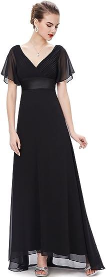 Women's Short Sleeve V-Neck Long Formal Dress