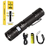 Everbeam E2 LED Tactical Flashlight USB Rechargeable, 950 Lumen Ultra Bright, Zoomable, Waterproof, Long Distance, Long Runtime, Clip Lanyard and 3400 mAh Battery Included, Camping Hiking