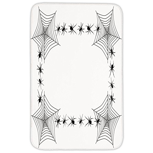 Web Trap - Rectangular Area Rug Mat Rug,Spider Web,Creepy Framework with Arachnid Venom Poison Trap Cartoon Style Monochrome Print,Black White,Home Decor Mat with Non Slip Backing