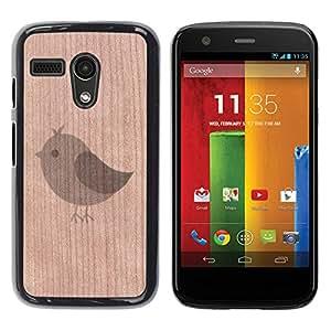Funda Cubierta Madera de cereza Duro PC Teléfono Estuche / Hard Case for Motorola Moto G 1 1ST Gen / Phone Case TECELL Store / Tweet lindo Comic Pájaro minimalista Tweet Cute Bird Minimalist Comic
