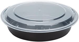 SafePro 48 oz. Black Round Microwavable Container with Clear Lid, Lunch Bento Box, (Case of 25)