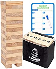Giant Tumbling Timber Toy Life Size - WOOD CITY Wooden Blocks Tumble Tower Stacking Game for Kids and Adults,