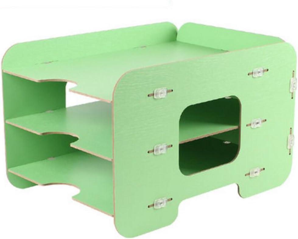 LQ Woody File Storage Box Desktop 3 Layers Magazine Rack Creative Filing Cabinet Folder Color : Green