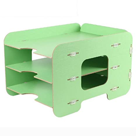 archivadores Woody File Storage Box Desktop 3 Capas Revista Rack Creative Archivador (Color : Green