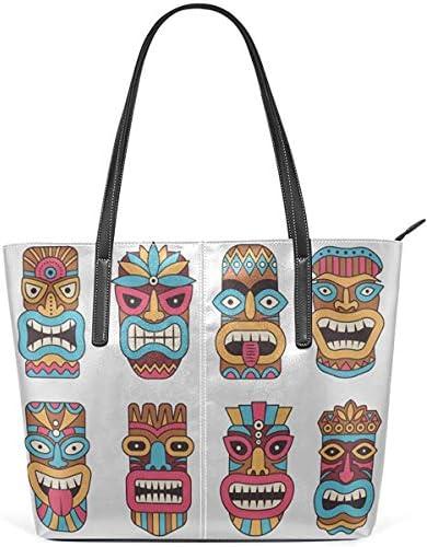 Leder Tasche Laptop Tote Bag The Symbol of Primitive Tribe Totem Large Printed Shoulder Bags Handbag Pu Leather Zipper Tote Handle Satchel Purse Lightweight Work Tote Bag