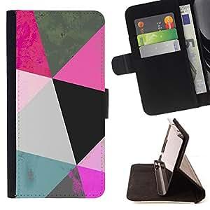 BullDog Case - FOR/HTC One M9 / - / polygon art blue pink 3d pattern mint /- Monedero de cuero de la PU Llevar cubierta de la caja con el ID Credit Card Slots Flip funda de cuer
