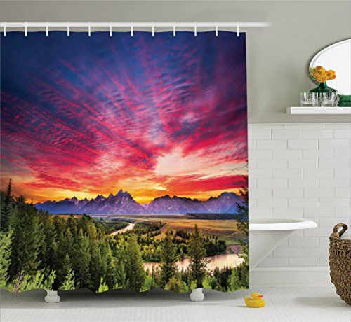 Ambesonne Lake House Decor Collection, Colorful Skyline with Clouds in the Forest Lake River Mountain Landscape Park Sunburst, Polyester Fabric Bathroom Shower Curtain, 84 Inches Extra Long, Multi