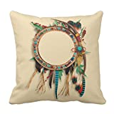 Emvency Throw Pillow Cover Southwest Native American Turquoise Bow Arrow Decorative Pillow Case Western Home Decor Square 18 x 18 Inch Cushion Pillowcase