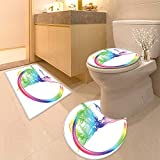 Printsonne 3 Piece Toilet lid Cover mat Set Smoke Dance Shape Silhouette of Dancer Ballerina Rainbow Colors Fantasy Image Blue Aqua Customized Rug Set